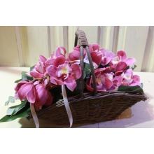 Целая ветка орхидеи цимбидиум в корзине с листьями аспидистры, эвкалиптом, декоративными булавками и атласной лентой.
