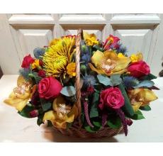 Средняя корзина из малиновых сортовых роз, орхидей, одноголовой хризантемы сафина, ирингиума, амаранта, зелени.