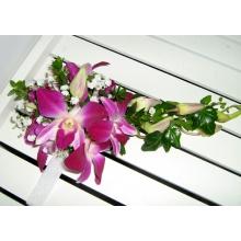 Браслет из орхидеи дендробиума, зелени, гипсофиллы