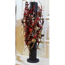 Высота 80-90 см. Состав: шишки, сухоцветы, шары, декоративные элементы, световая гирлянда теплого свечения.