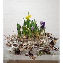 Поднос с каркасом из бумаги, листьев, сухоцветов и декоративными аксессуарами. Диаметр 60 см. Состав растений: гиацинты, крокусы, мускари, нарциссы, тюльпаны.