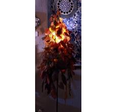 Высота 165 - 170 см. Диаметр 45 см. Состав: ветки и листья осины и бука (стабилизированы, т.е. не теряют цвет, форму, не облетают) коробочки физалиса. Диодная лампа (срок свечения - длинный) Опора металлическая черная.