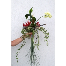 Букет невесты с мини-фаленопсисом, глориозой, спатифиллумом, хлорофитумом, гедерой с хвостом из бурграса.