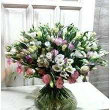 Букет из 41 стебля розовой и белой эустомы с зеленью и лентой.