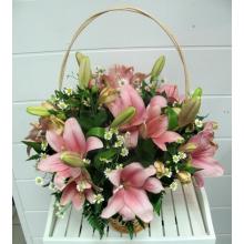 Праздничная корзина из розовой лилии (азиатки), альстромерии, матрикарии, зелени с атласным бантом.