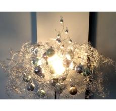 Напольная лампа-торшер с транспарентным абажуром из натурального кораллого ферна серебристого цвета, шаров пастельных тонов. Диодная лампа накаливания (не нагревается, срок горения - очень долго)