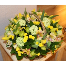Корзина цветов в желто-зеленой гамме. Состав: тюльпаны, калина, хризантемы, альстромерии, зелень.
