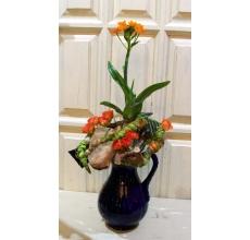 Букет-сад из орнитогаллума на декоративной каркасе из спилов, соломы, веток и других декорат. элементов. У всех комнатных растений сохранена корневая система, упакована и интегрирована в букет. Растения будут жить и развиваться.